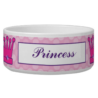 Pretty Princess Crown Personalized Dog Bowls