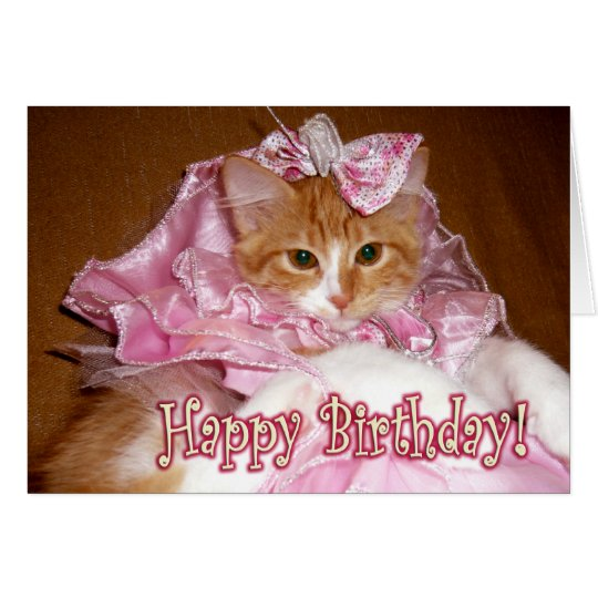 Pretty Princess Kitten - Happy Birthday! Card