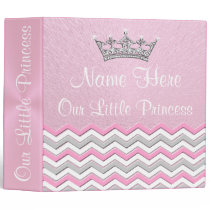 Pretty Princess Personalized Pink Photo Albums 3 Ring Binder