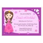 Pretty princess pink purple cute girly birthday invitations