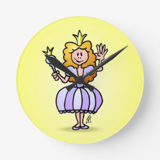 Pretty Princess Round Clock
