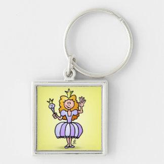 Pretty Princess Silver-Colored Square Keychain