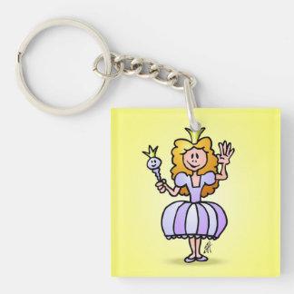 Pretty Princess Single-Sided Square Acrylic Keychain