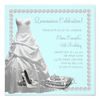 Pretty Princess Teal Blue Quinceanera Personalized Invites