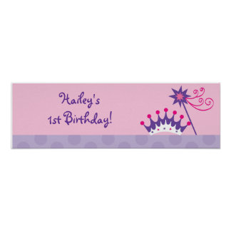 Pretty Princess Tiara Baby Shower Banner Sign