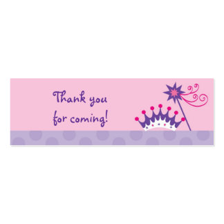 Pretty Princess Tiara Party Favor Gift Tags Double-Sided Mini Business Cards (Pack Of 20)