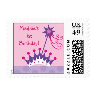 Pretty Princess Tiara Personalized Postage Stamps
