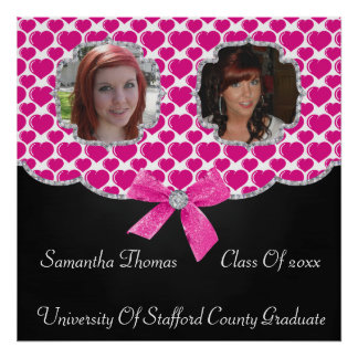 Pretty Puffed Hearts Bling 2 Photos Graduation Poster