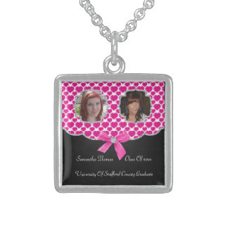 Pretty Puffed Hearts Bling 2 Photos Graduation Sterling Silver Necklace