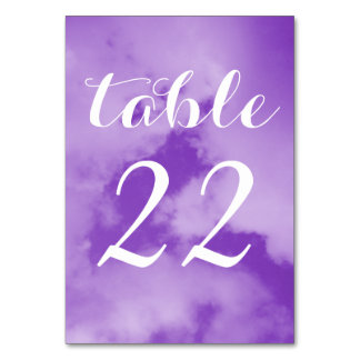 Pretty Puffy Purple Tinted Clouds White Numbered Table Card