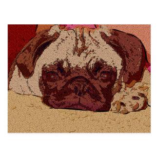 Pretty Pug Art Postcard
