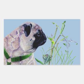Pretty Pug & Nature Rectangular Sticker