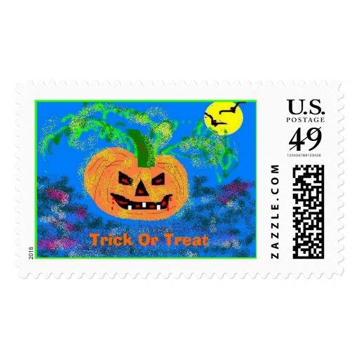 Pretty Pumpkin, Trick Or Treat Postage Stamps