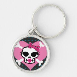 Pretty Punk Skull on Pink Heart Keychain