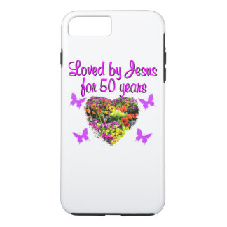 PRETTY PURPLE 50TH BIRTHDAY DESIGN iPhone 8 PLUS/7 PLUS CASE