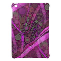 Pretty Purple Abstract Concentric Circles Mosaic iPad Mini Covers