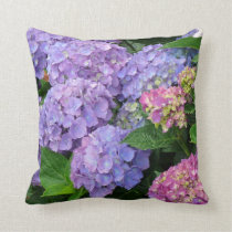 Pretty Purple and Pink Hydrangea Flowers Throw Pillow