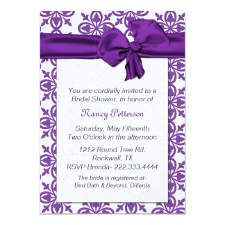 Pretty Purple and White Bridal Shower Invitation