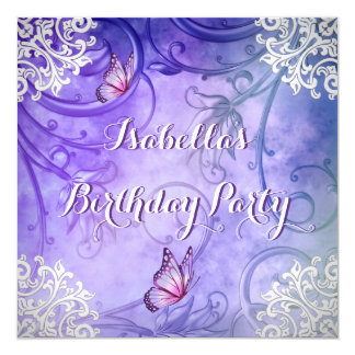 Pretty Purple and White Butterfly Damask Birthday Card