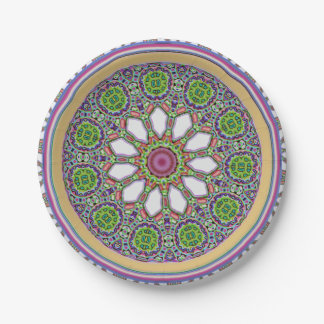 Pretty Purple and White Daisy Flower Tile Mosaic Paper Plate
