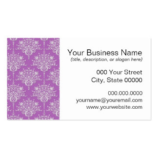 Pretty Purple and White Damask Business Card