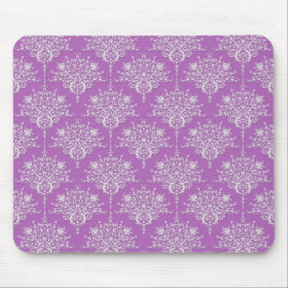 Pretty Purple and White Damask Mouse Pad