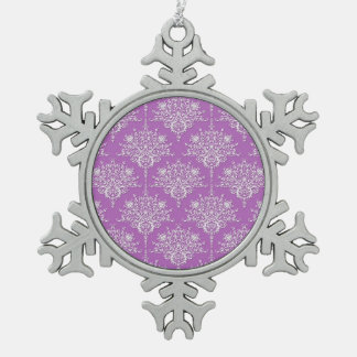 Pretty Purple and White Damask Snowflake Pewter Christmas Ornament
