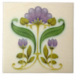 """Pretty Purple Art Nouveau Floral c1900 Tile Design<br><div class=""""desc"""">We love how the subtle crackled background in this reproduction tile captures the character of the original antique piece. And the softly shaded purple-lilac and greens work perfectly with the cream background. Reminds us of springtime.</div>"""