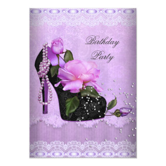 Pretty Purple Birthday Party Rose Hi Heel Lace Card