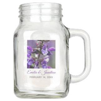 Pretty Purple Blossom Floral Wedding Mason Jar