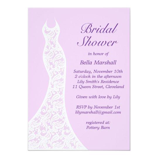 pretty purple bridal shower invitation