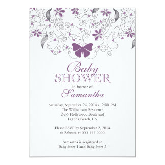 Pretty Purple Butterfly Baby Girl Baby Shower 5x7 Paper Invitation Card