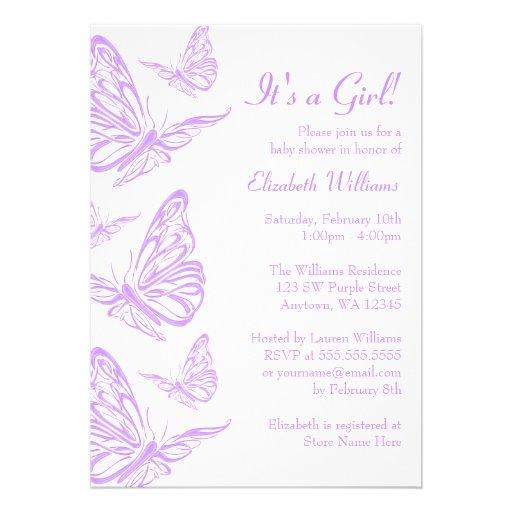 pretty purple butterfly baby shower invitations 5 x 7 invitation
