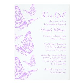 Pretty Purple Butterfly Baby Shower Invitations Custom Announcements