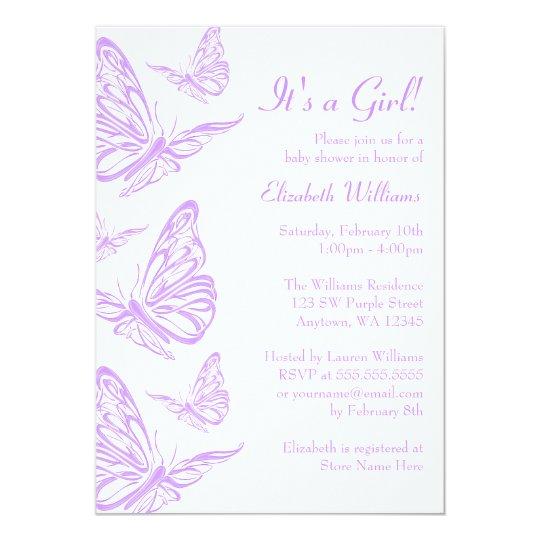 Pretty Purple Erfly Baby Shower Invitations