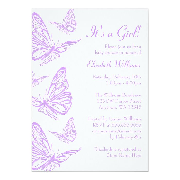 Butterfly Baby Shower Invites: Pretty Purple Butterfly Baby Shower Invitations
