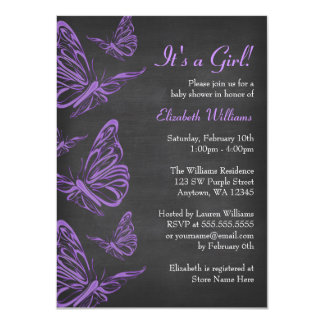 Pretty Purple Butterfly Chalkboard Baby Shower Card