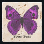 """Pretty Purple Butterfly Custom Stone Coaster<br><div class=""""desc"""">Pretty stone coaster with digital graphics of a purple butterfly.  Distressed black text reads whatever you want it to say.  Makes a lovely gift idea.</div>"""