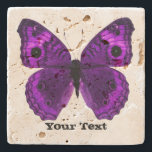 "Pretty Purple Butterfly Custom Stone Coaster<br><div class=""desc"">Pretty stone coaster with digital graphics of a purple butterfly.  Distressed black text reads whatever you want it to say.  Makes a lovely gift idea.</div>"