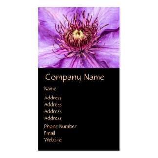 Pretty Purple Clematis Flower Double-Sided Standard Business Cards (Pack Of 100)