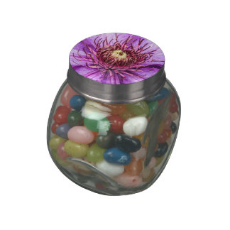 Pretty Purple Clematis Flower Jelly Belly Candy Jars