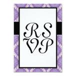 pretty purple cream damask pattern custom announcement