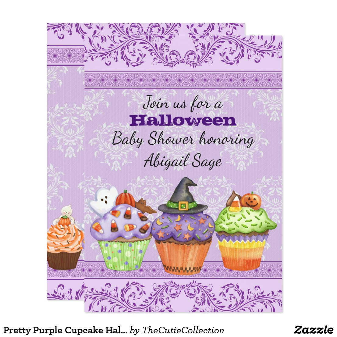 Pretty Purple Cupcake Halloween Baby Shower Invite