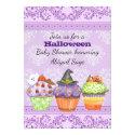 Pretty Purple Cupcake Halloween Baby Shower Invite