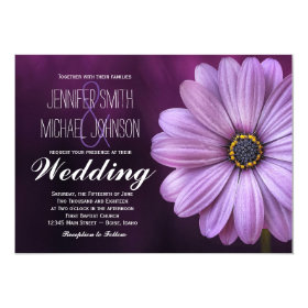 Pretty Purple Daisy Flower Wedding Invitations