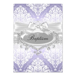 Pretty Purple Damask & Bow Baptism Invitation