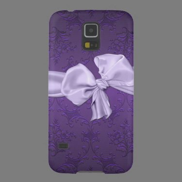Pretty Purple Damask Samsung Galaxy S5 Phone Case Case For Galaxy S5