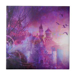 Pretty Purple Fairy Tale Fantasy Castle Ceramic Tile