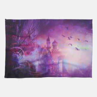 Pretty Purple Fairy Tale Fantasy Castle Hand Towels