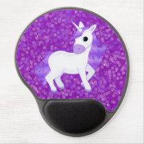 Pretty Purple Fantasy Unicorn and Glitter Pattern Gel Mouse Pad